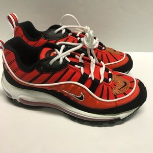 "NIKE AIR MAX 98 GS ""HABANERO RED"" SIZE 5.5Y"